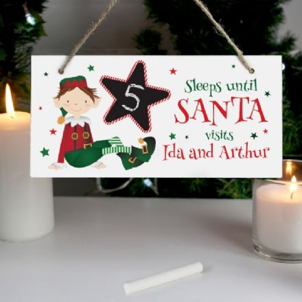 Elf Christmas Chalk Countdown Wooden Sign